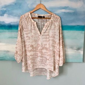 Cynthia Rowley V Neck Blouse 3/4 Sleeve